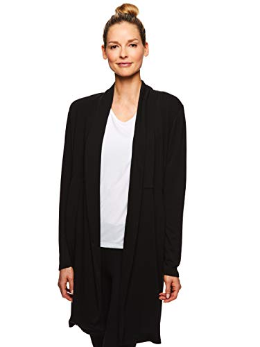 Gaiam Women's Harlow Yoga Wrap - Open Front Long Sleeve Cardigan Sweater - Black Wrap, Small