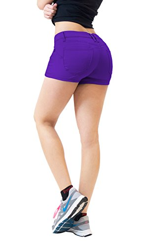 (HyBrid & Company Womens Butt Lifting Twill Denim Shorts-SH43308X-PURPLE-16)