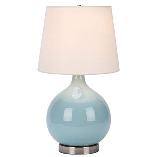 CO-Z Modern Blue Table Lamp Ceramic, 19 Inches White Desk Lamp with LED Bulb, Cyan Blue Turquoise Table Lamp for Accent Bedside Bedroom Living Room, UL Listed.