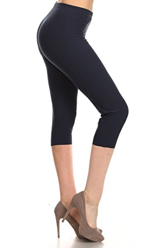 NCPRX128-NAVY Capri Solid Leggings, Plus Size