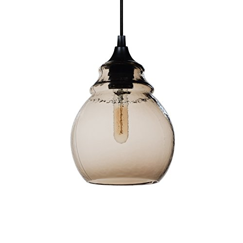 Mini Pendant Fire Glass Shade (CASAMOTION Mini Pendant Light Handblown Glass Drop Hanging Light, Mini Glass Bell Pendant, Brown)