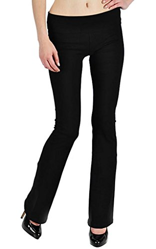 Fold Over Yoga Pants Black - T-Party High Quality Thick Cotton Yoga Pants with Fold Over Waistband, Medium, Black