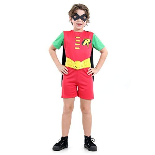 Robin Curto Infantil Sulamericana Fantasias Vermelho/Verde/Amarelo G 10/12 Anos