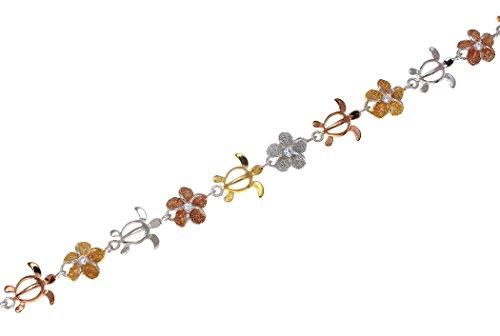 Arthur's Jewelry 925 Sterling Silver Yellow Rose Gold Tricolor Plated Hawaiian Plumeria Flower Turtle Bracelet 7 1/4
