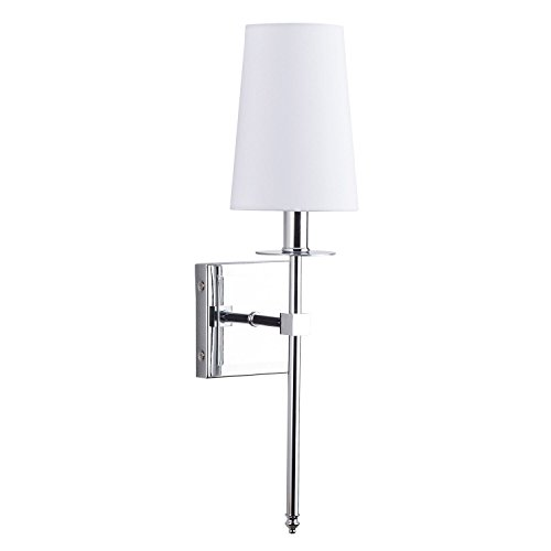 Linea 2 Light Sconce - Torcia Wall Sconce 1-Light Fixture with Fabric Shade - Chrome - Linea di Liara LL-SC425-PC
