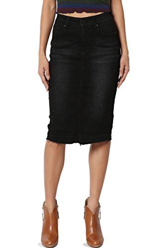 TheMogan Women's Butt Lift Washed Blue Jean Pencil Midi Soft Denim Skirt Black S