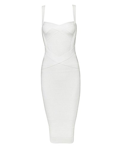 Whoinshop Women's Rayon Strap Celebrity Midi Evening Party Bandage Dress (M, White-ployester)