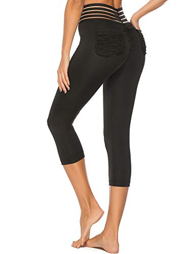 CROSS1946 Women's High Waist Back Ruched Legging Butt Lift Yoga Pants Hip Push Up Workout Stretch Capris Black, M