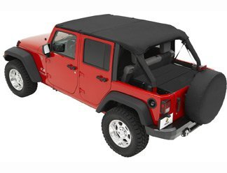 Bestop Bikini Top Combo for Jeep Wrangler JK Unlimited 2010-15 - Includes  Header Safari Bikini 5258435 & Windshield Channel