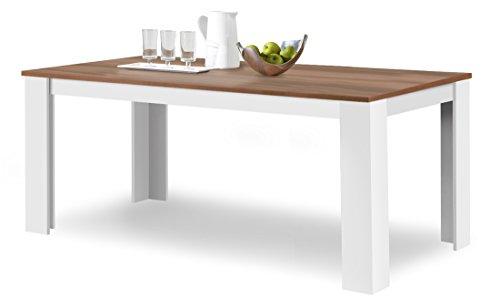 agionda Toledo - Mesa de comedor (160 x 90 cm, superficie de melamina resistente a aranazos), color blanco y no