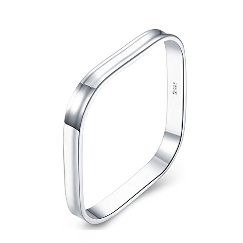 Square Bangle Bracelet Sterling Silver Plated for Women Jewelry ()