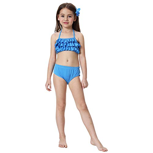 2019 3 Pcs Mermaid Tails for Swimming for Girls Can Add Monofin, Bikini Swimsuit Set Mermaid Tails Birthday Gifts for Kids by AMENON (Image #2)