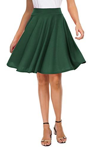 - EXCHIC Women's Basic Skirt A-Line Midi Dress Casual Stretchy Skater Skirt (XL, Green)