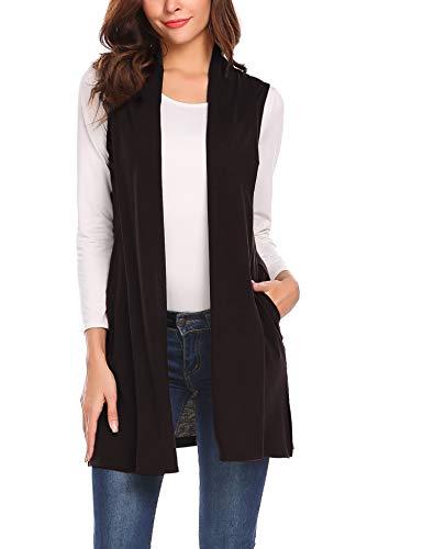 Beyove Womens Petite Lightweight Sleeveless Open Front Cardigan Plus Size Sweater Vest with Pockets Dark Brown S