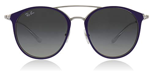 RAY-BAN JUNIOR Kids' RJ9545S Round Kids Sunglasses, Silver On Top Violet/Grey Gradient, 47 mm by RAY-BAN JUNIOR