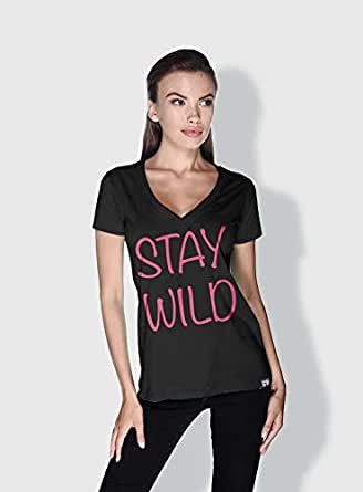 Creo Stay Wild Trendy T-Shirts For Women - S, Black