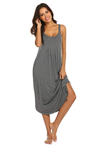 Ekouaer Women Sleeveless Long Nightgown Solid Loungewear Sleepwear Night Dress(Grey L)
