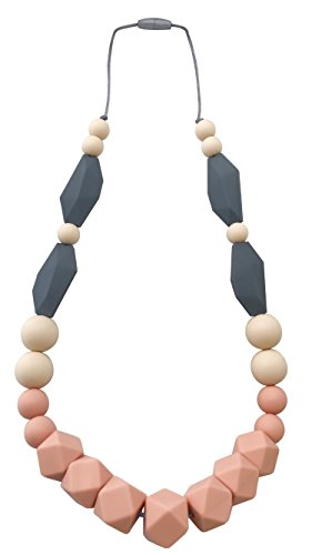 Baby Teething Necklace for Mom: Silicone Baby Teether Necklace for Teething Pain Relief in Babies & Toddlers| Sturdy & Stylish Chewable Necklace for Boys & Girls| Baby Shower Gift (Peach/Ivory/Grey)
