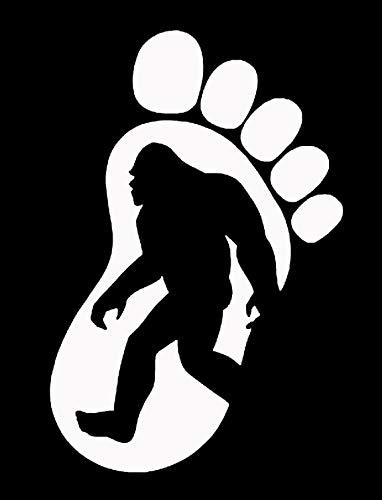 Makarios LLC Footprint Bigfoot Cars Trucks Vans Walls Laptop MKR| White |5.5 x 3.75|MKR658 ()