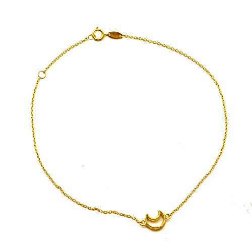 LoveBling 10K Yellow Gold .50mm Diamond Cut Rolo Chain with a Creasent Moon Anklet Adjustable 9