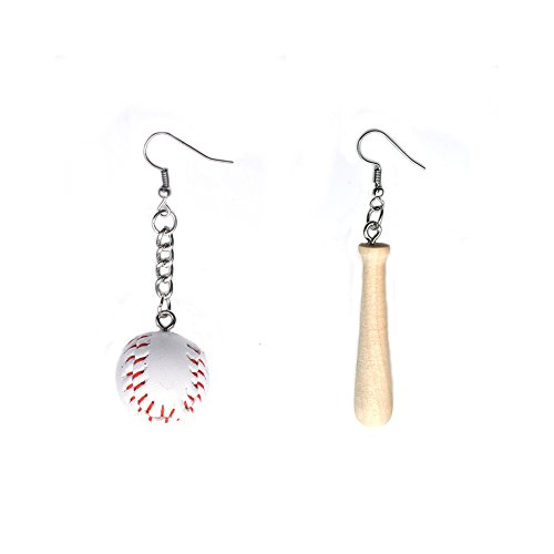 Hoop 5mm Earrings Medium (Lanburch Set of 2 Simple Style Earrings Asymmetric Earrings Individuality 3D Baseball & Baseball Bat Earrings (2.87'' x 0.78''))
