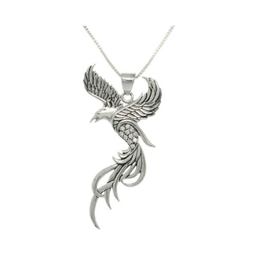 Sterling Silver/CZ – Fawkes The Phoenix Pendant – Harry Potter