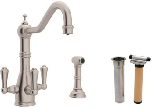 Rohl U.KIT1575LS-STN-2 Perrin and Rowe Filtering Triple Handle Kitchen Faucet Satin Nickel