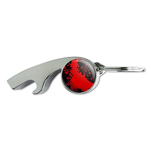 Blood Splatter Classic Horror Movie Halloween Chrome Plated Metal Whistle Bottle Opener Keychain Key Ring ()