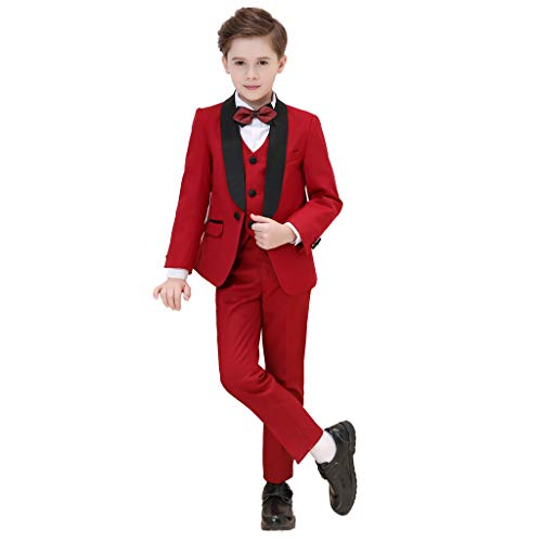 (Iyan Boys High-Grade Tuxedos Suits 5 Piece Slim Fit Elegant Suit for Boys Quality Fabric Burgundy Size 8)