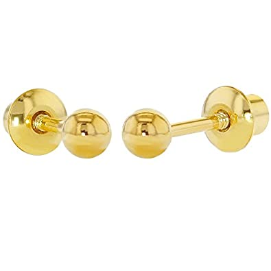 1565225b5 18k Gold Plated Small Plain Ball Screw Back Earrings Baby Toddler Girls  3mm: Amazon.co.uk: Jewellery