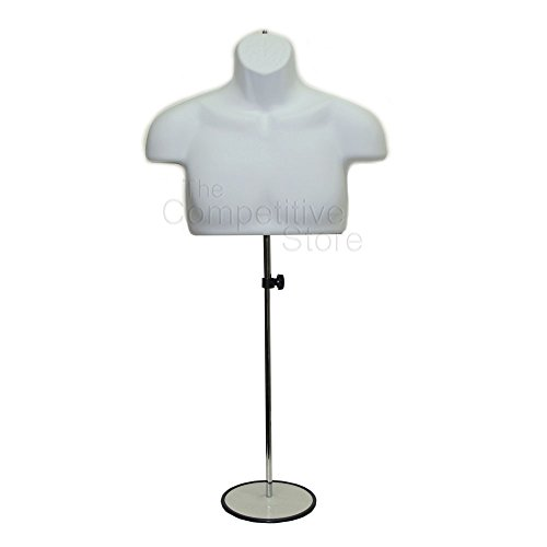 Torso Male W/Metal Base Body Mannequin Form 19'' To 38'' Height For S-M Sizes - White by Wet Brush