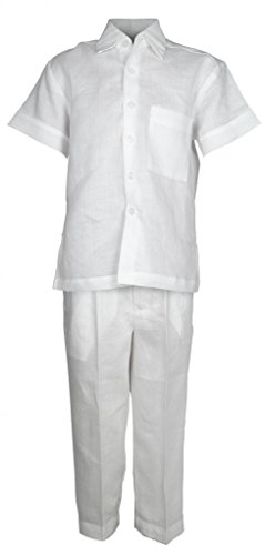 Mojito Kids Boys 100% Linen One Pocket Shirt and Pant Set White 06