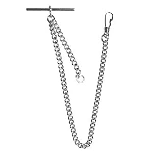 Greenwich Chrome Plated 9 Inch Single Albert T-Bar Pocket Watch Chain