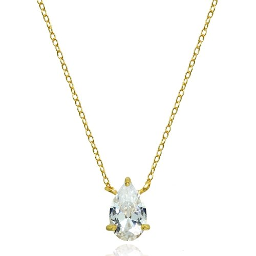 Yellow Gold Flashed Sterling Silver Cubic Zirconia 8x5mm Teardrop Solitaire Necklace