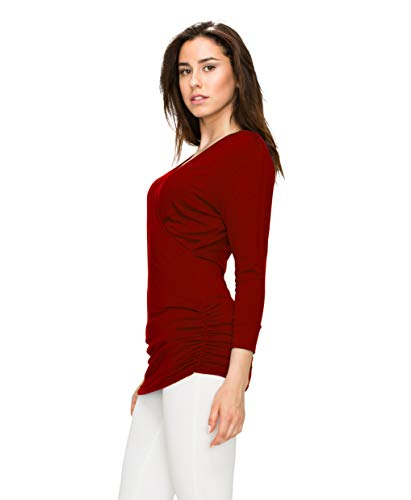 Womens 3/4 Sleeve Wrap Front Drape Top L Wine by Lock and Love (Image #3)