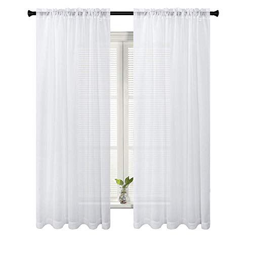 (SUO AI TEXTILE Voile White Sheer Curtains Rod Pocket Elegance Window Panels for Bedroom Kids Room Kitchen 54W x 96L Inch 2 Panels)
