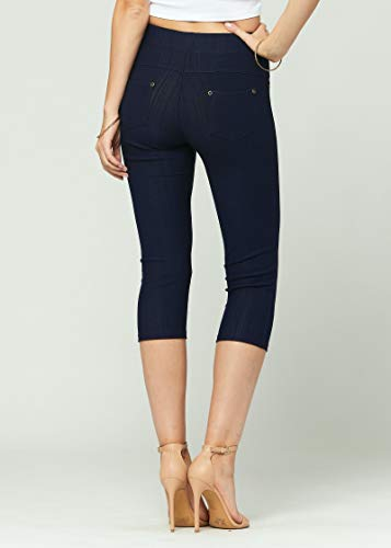 Premium Stretch Soft High Waisted Jeggings for Women - Denim Leggings - Cotton Stretch Blend - Capri Length Indigo Blue - Large/X-Large