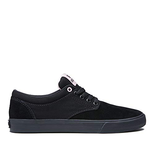 - Supra Unisex Chino Skateboarding Sneakers Shoes, Black/Mauve-Black, Size 7.5