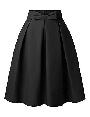 DJT FASHION Womens Vintage Skirt Knee Length High Waist Pleated Midi Bow Skirts