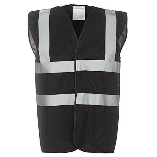 Yoko Unisex Premium Hi-Vis Waistcoat Vest/Jacket (XL) (Black)