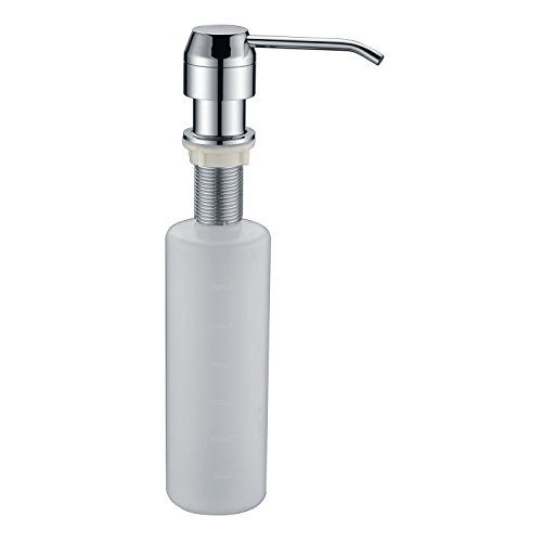 Mount Soap Lotion (LAZADA Brass Modern Kitchen Soap Dispenser,Large Capacity 8.5 OZ Bottle Built In Deck Mount Soap/Lotion Dispenser, Chrome)