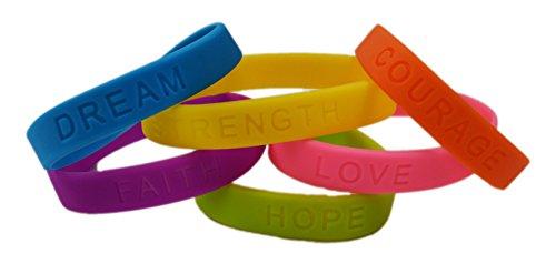 dazzling toys Rubber Bracelets Assorted Colors Inspirational Sayings Bracelets 4 Dozen | Bracelets Have Messages Dream, Hope, Love, Faith, Courage Strength. ()