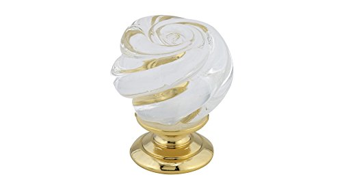 - Richelieu Hardware - BP903013011 - Traditional Metal and Murano Glass Knob - 9030 - Brass Clear  Finish