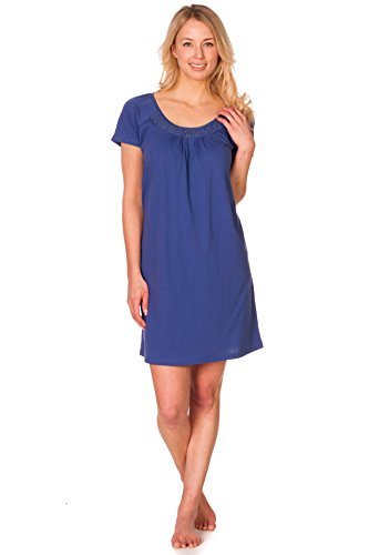 Women's Pink Lady Cute Blue Nightie Gown with Abstract Collar Detail Medium