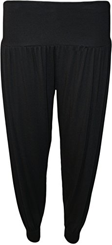 WearAll Women's Harem Pants - Black - US 4-6 (UK 8-10) (Trousers Black Jersey)