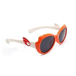 TIJN Kids Super Flex Rubber Polarized Bow Sunglasses for Boys Toddler, Medium/Orange