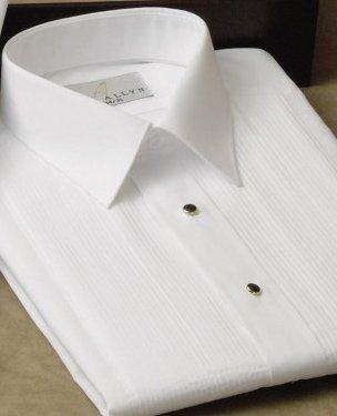 Neil Allyn Men's Tuxedo Shirt Poly/Cotton Laydown Collar 1/8 Inch Pleat (15.5 - 32/33) White by Neil Allyn