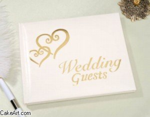Double Heart Guest Book (Wedding Gold Double Hearts Guest Book White)