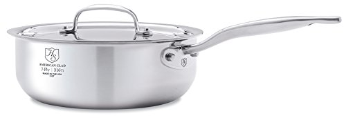 Heritage Steel 3 Quart Saucier - Titanium Strengthened 316Ti Stainless Steel with 7-Ply Construction - Induction-Ready and Dishwasher-Safe, Made in USA