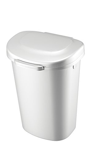 Rubbermaid Touch-Top Wastebasket, 13-Gallon, White, 1843025
